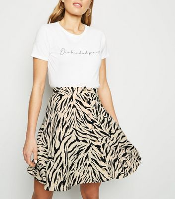 Tall Light Brown Tiger Print Button Up Skirt
