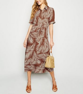 Tall Rust Palm Print Midi Shirt Dress