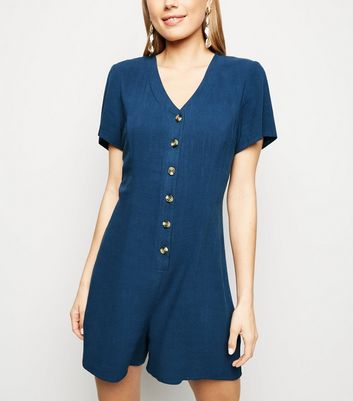 Tall – Marineblauer Playsuit mit Knopfleiste in Leinen-Optik
