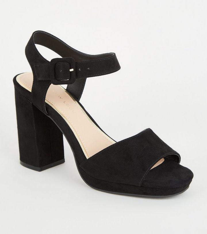 b34479ac19 Wide Fit Black Suedette 2 Part Platform Heels | New Look