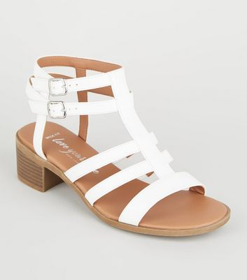 Wide Fit White Leather-Look Caged Footbed Sandals