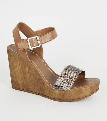 Tan Premium Leather Faux Snake Strap Wedges