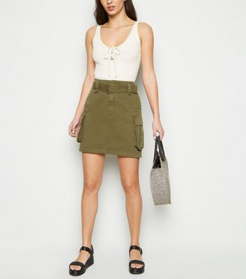 Tall Khaki Utility Denim Skirt