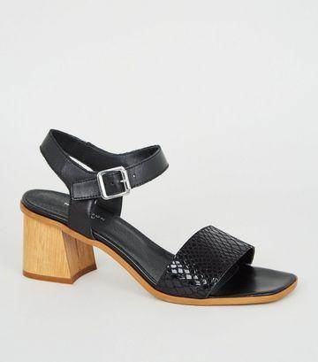 Black Premium Leather Faux Snake Strap Sandals
