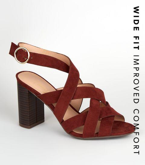 01094a24aa ... Wide Fit Rust Woven Strap Block Heels ...