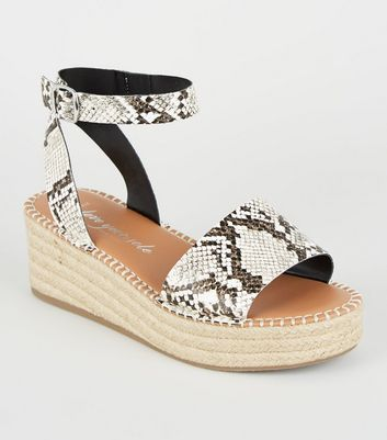 Wide Fit Stone Faux Snake Flatform Sandals