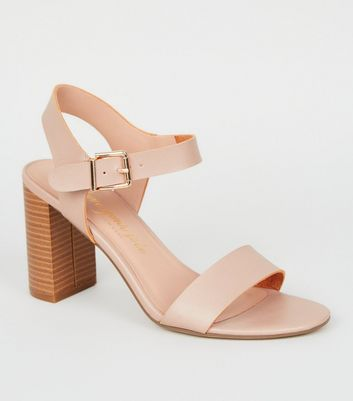 Wide Fit Light Brown Wood Block Heel Sandals