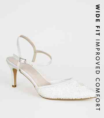 Wide Fit Off White Lace Stiletto Courts