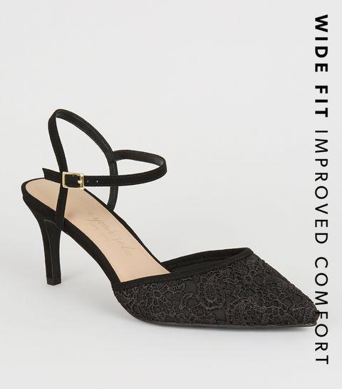 9f399d6699 ... Wide Fit Black Lace Stiletto Courts ...