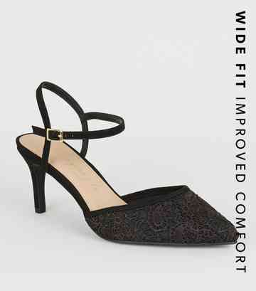 Wide Fit Black Lace Stiletto Courts