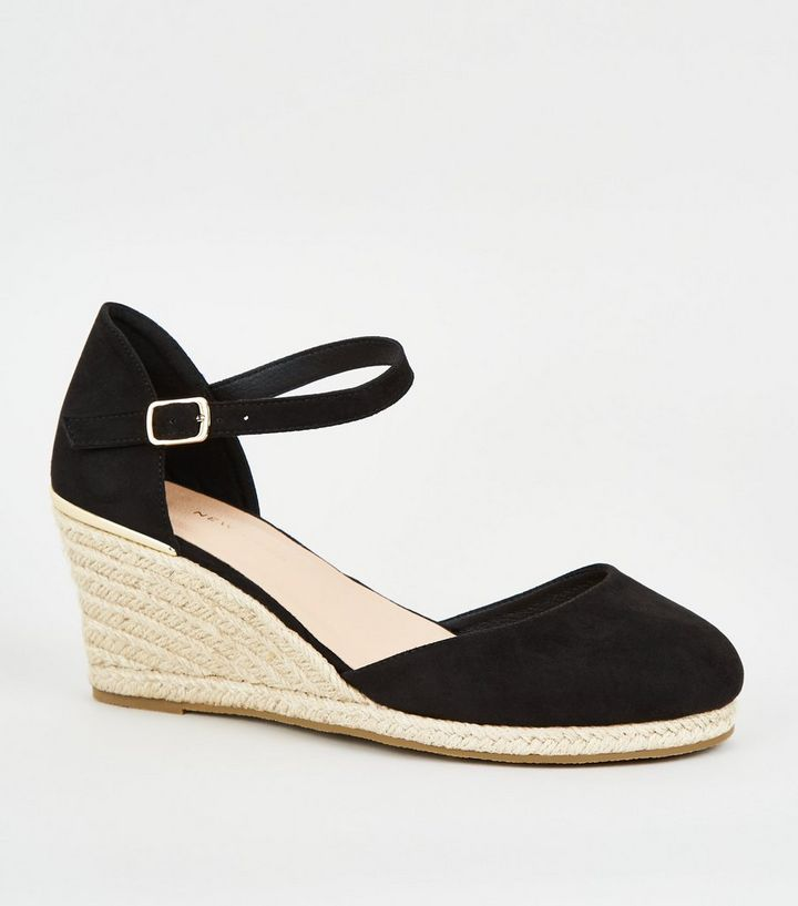 c2616d80488 Wide Fit Black Suedette Espadrille Wedges Add to Saved Items Remove from  Saved Items