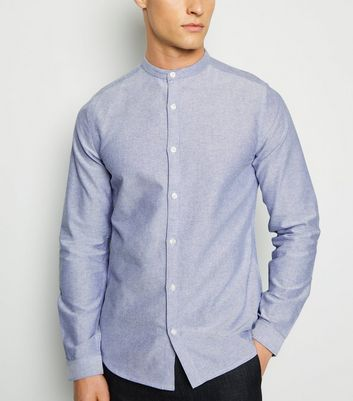 Pale Blue Grandad Collar Long Sleeve Oxford Shirt