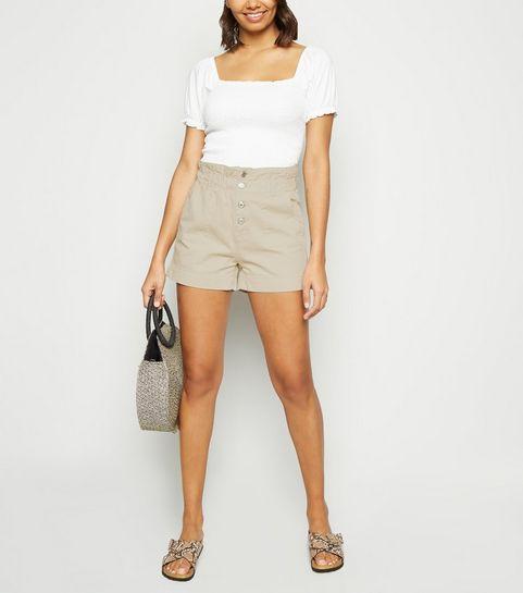 0b646070900 ... Stone Button Up Denim Paperbag Shorts ...