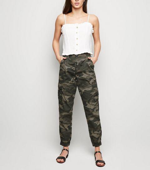 f7a8296f1f4af ... Khaki Camo Cuffed Utility Trousers ...