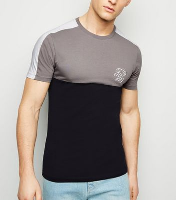 Pale Grey TW9 Embroidered Muscle Fit T-Shirt