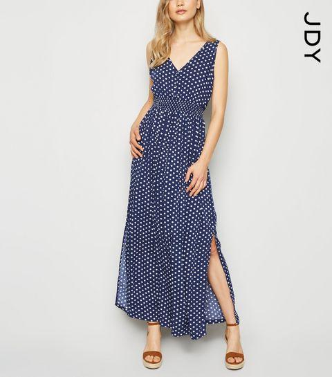 b242f3c2e4e742 ... JDY Blue Spot Button Front Maxi Dress ...