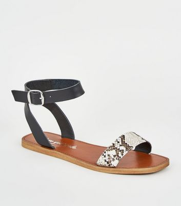 Wide Fit Stone Faux Snake Strap Sandals