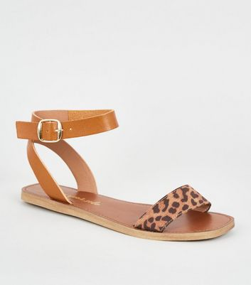Wide Fit Stone Leopard Print Strap Sandals