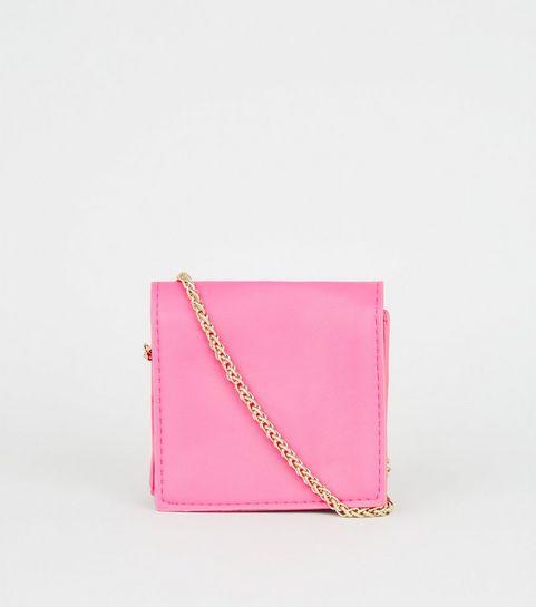 b3f95397f7 ... Bright Pink Leather-Look Mini Cross Body Bag ...