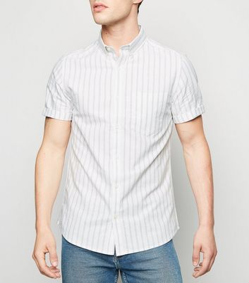 White Stripe Short Sleeve Oxford Shirt