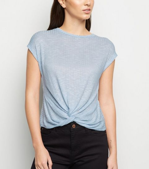 6d4f39131b ... Pale Blue Fine Knit Twist Front Top ...
