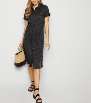 Black Denim Utility Midi Shirt Dress