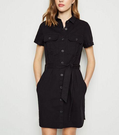4302795a4ab Black Short Sleeve Utility Shirt Dress