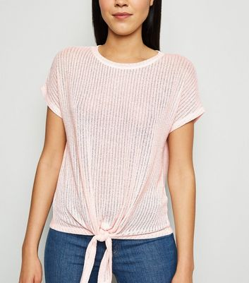 Pale Pink Tie Front Fine Knit Top