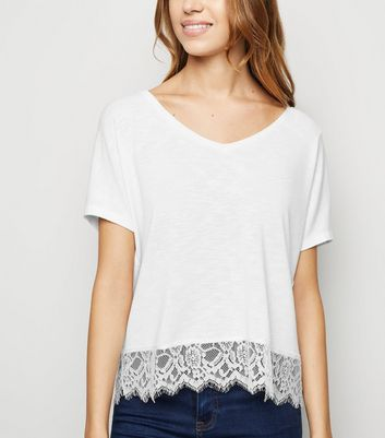 White Fine Knit Lace Hem T-Shirt