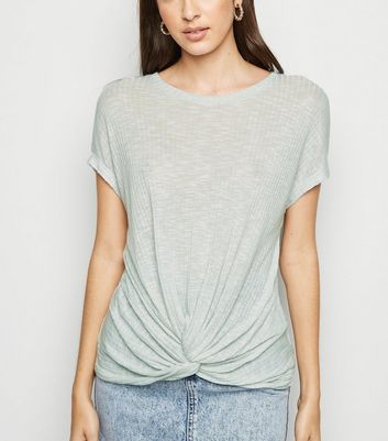Light Green Fine Knit Twist Front Top