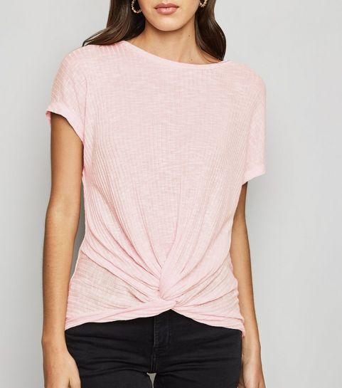 4e49aba83f ... Pale Pink Fine Knit Twist Front Top ...