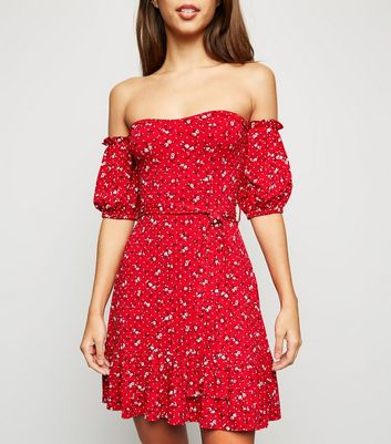 Cameo Rose Red Ditsy Floral Belted Dress