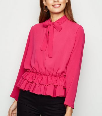 Cameo Rose Pink Ruffle Hem Tie Neck Blouse