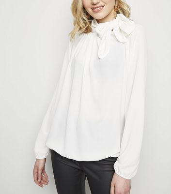 Cameo Rose Cream Side Tie Neck Blouse