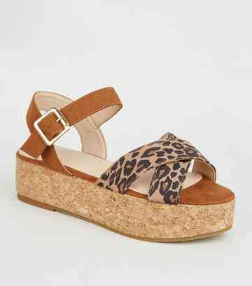 Girls Stone Leopard Print Cross Strap Flatforms