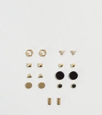 9 Pack Gold Geometric Stud Earrings