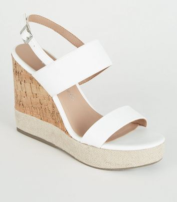 White Leather-Look Canvas Trim Cork Wedges