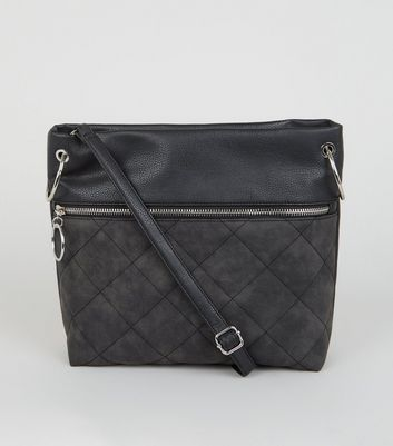 Black Leather-Look Quilted Cross Body Bag