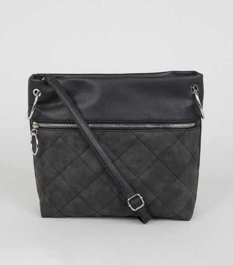 cee85224ca ... Black Leather-Look Quilted Cross Body Bag ...