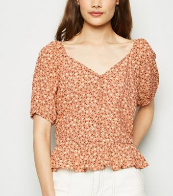 Brown Ditsy Floral Peplum Top