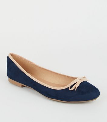 Wide Fit Navy Contrast Trim Ballet Pumps
