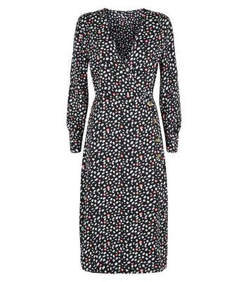 Influence Black Spot Wrap Midi Dress New Look