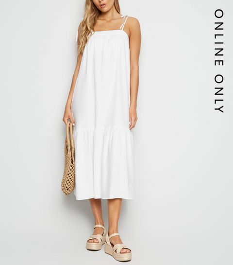 f08b929dc77a ... White Linen Look Tiered Midi Dress ...