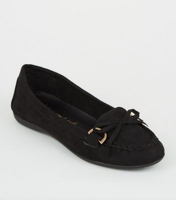 Wide Fit Black Bow Front Loafers