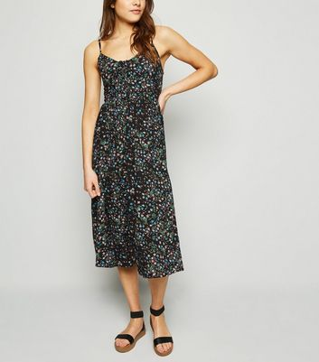 Black Ditsy Floral Print Tie Up Midi Dress