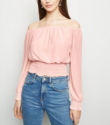 Cameo Rose Pink Shirred Hem Bardot Top
