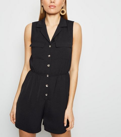dcae7cec1686 ... Black Herringbone Button Front Utility Playsuit ...