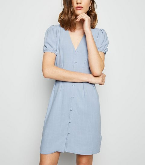 1d2bffb5b37f ... Blue Linen Look Button Up Tea Dress ...