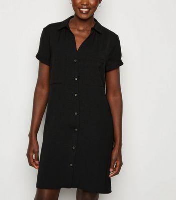 Black Short Sleeve Shirt Dress | New Look
