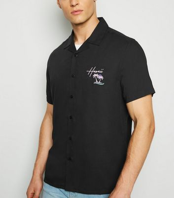 Black Hawaii Embroidered Slogan Shirt